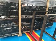 Portoro Black Marble Slab , Solid Surface Marble Sheets For Walls / Floor