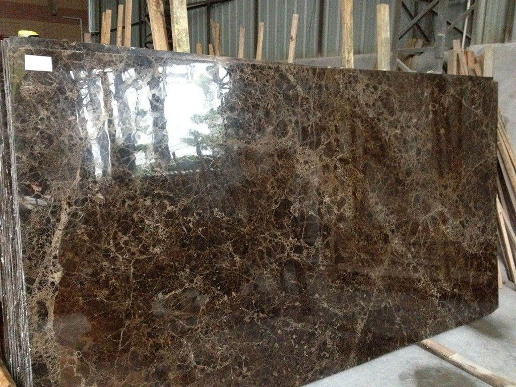 Dark Brown Natural Stone Slabs 2.71g / Cm3 Bulk Density 95 Up Polished Degree
