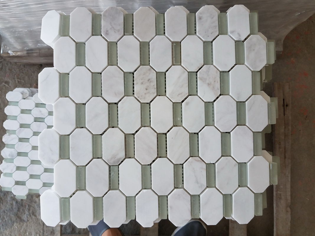 Artificial Hexagon White Carrara Marble Tiles , Hotel White Carrara Hexagon Tile