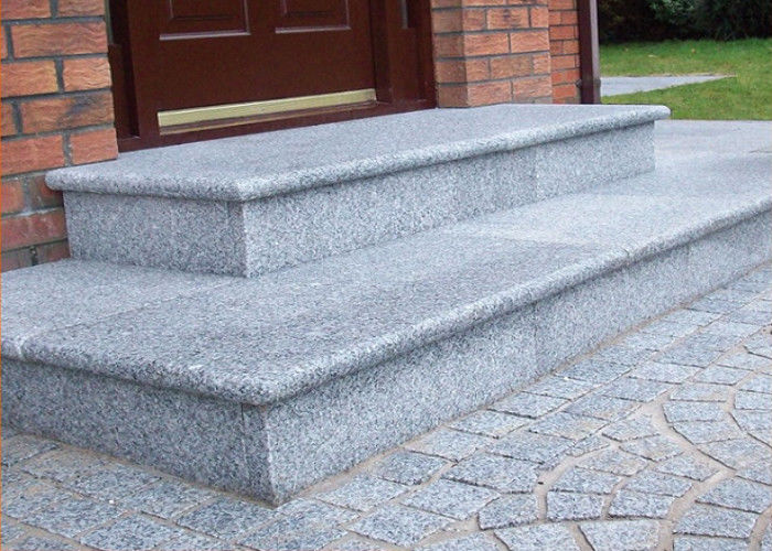 Light Grey White Granite Slab Steps , Granite Stone Slabs For Outdoor Steps