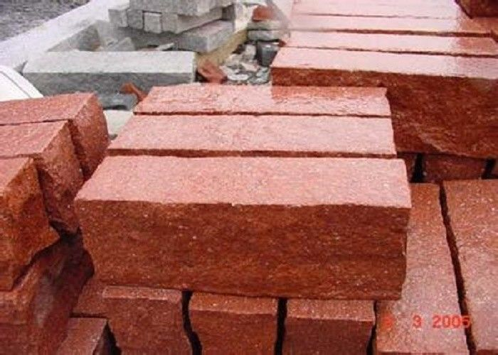Red Natural Paving Stones Tile For Stair Steps / Countertop Granite Material